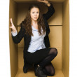 Woman in a Carboard Box — Stock Photo #8327880