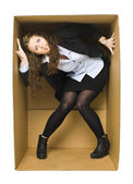 Woman in a Carboard Box — Stock Photo