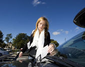 Woman and Parking ticket — Stock Photo