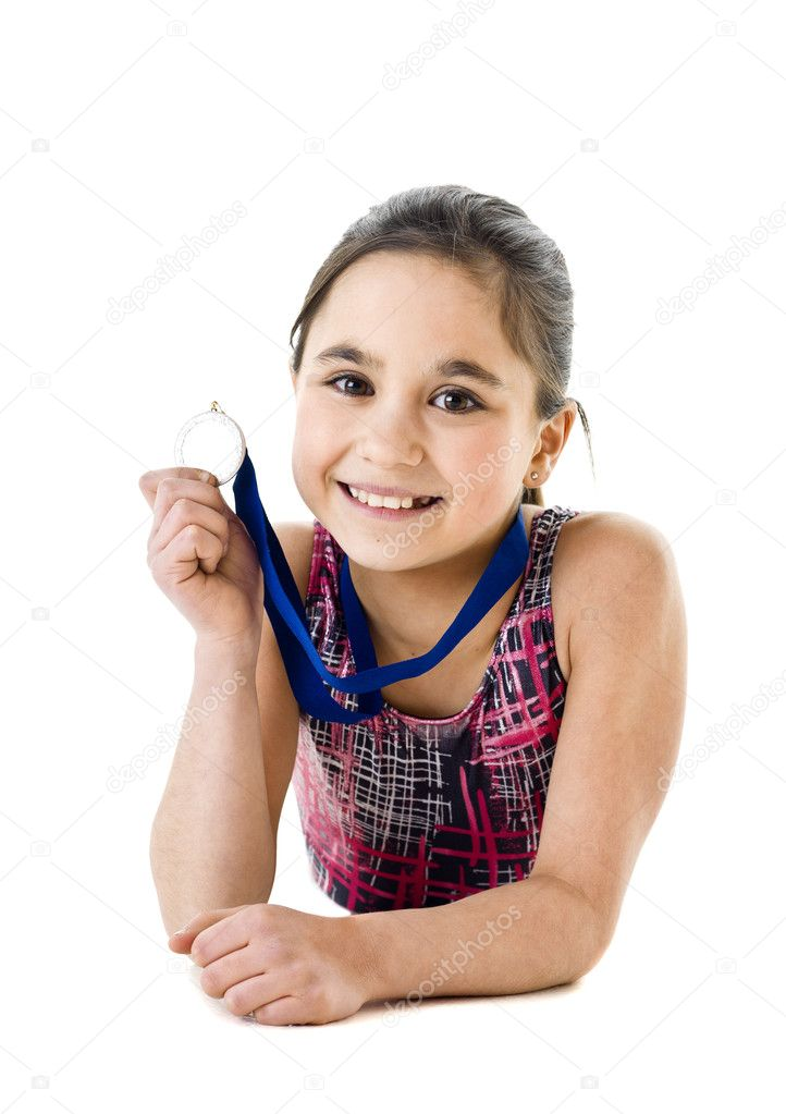 Portrait of a young girl with Medal on white background — Stock Photo #9706663