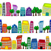 Seamless colorful cityscape borders — Stock Vector