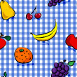 Seamless grungy fruits over blue gingham pattern — Stock Vector