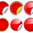 Red sticker set - Stock Vector