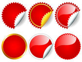 Red sticker set — Stock Vector