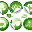 Green stickers — Stock Vector