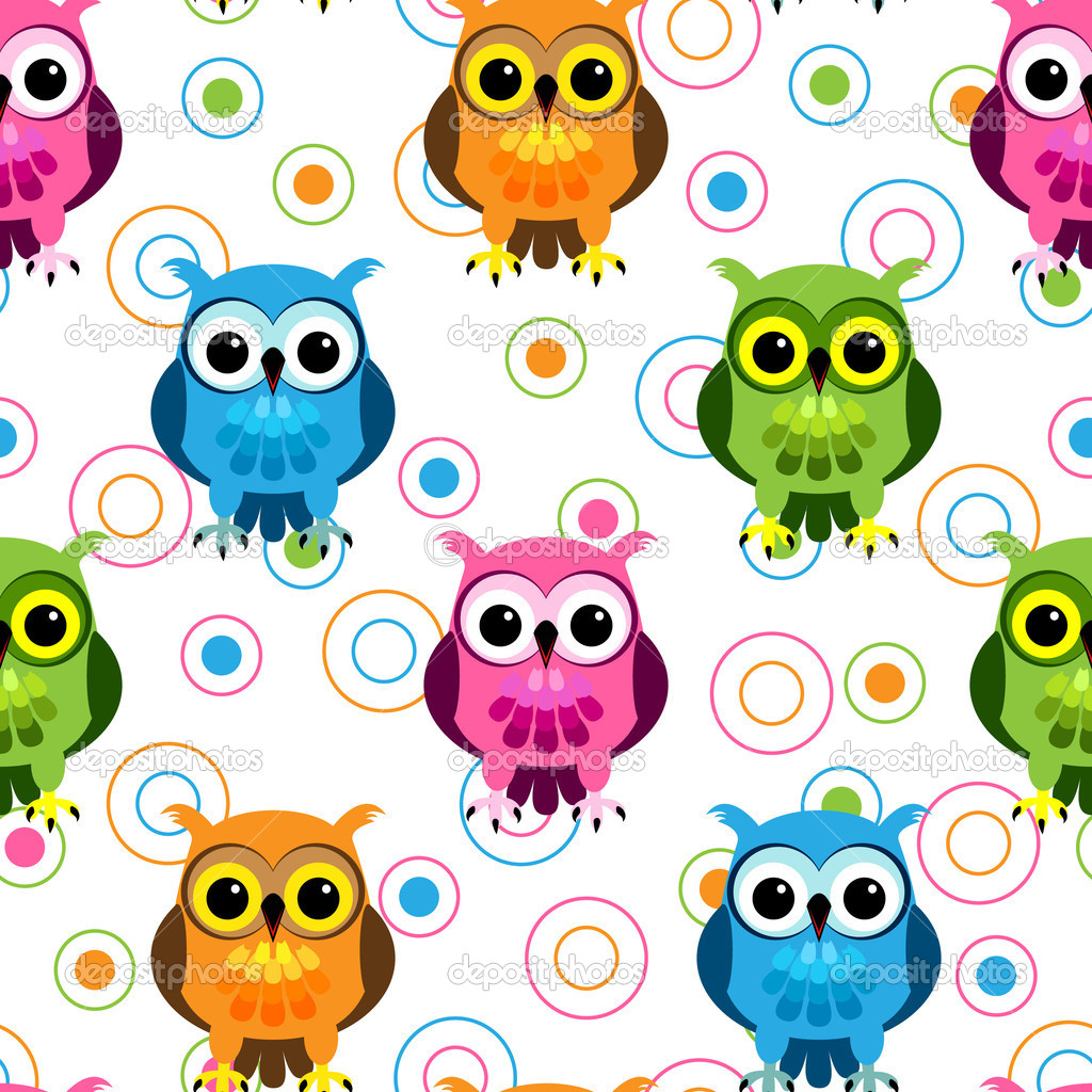 Seamless pattern of cute and fun cartoon owls in colorful pink, blue, green and orange with random circle pattern over white. — Stock Vector #10503312