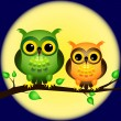 Owls on branch with full moon — Stock Vector