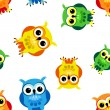Seamless cartoon owls - Stock Vector