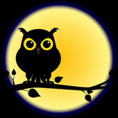 Silhouette of owl on branch with full moon — Stock Vector