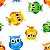 Seamless cartoon owls — Wektor stockowy