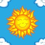 padrão sem emenda de sol e nuvem feliz — Vetorial Stock