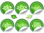 Green stickers-set2 — Stock Vector