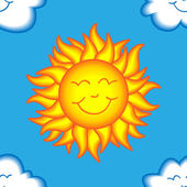 Seamless happy sun and cloud pattern — Stock Vector