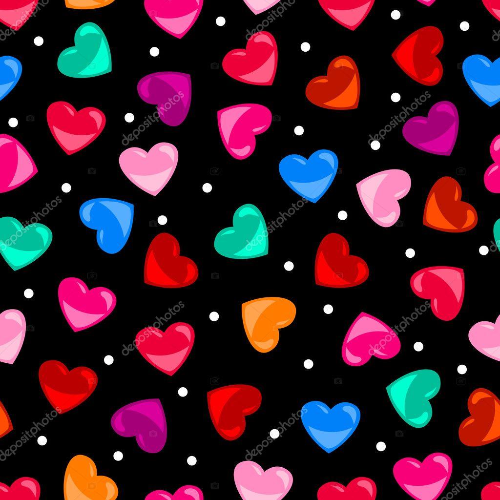 Kesintisiz renkli kalp   ekli desen siyah   zerine     Stok Vekt  r