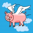 Flying pig — Stock Vector