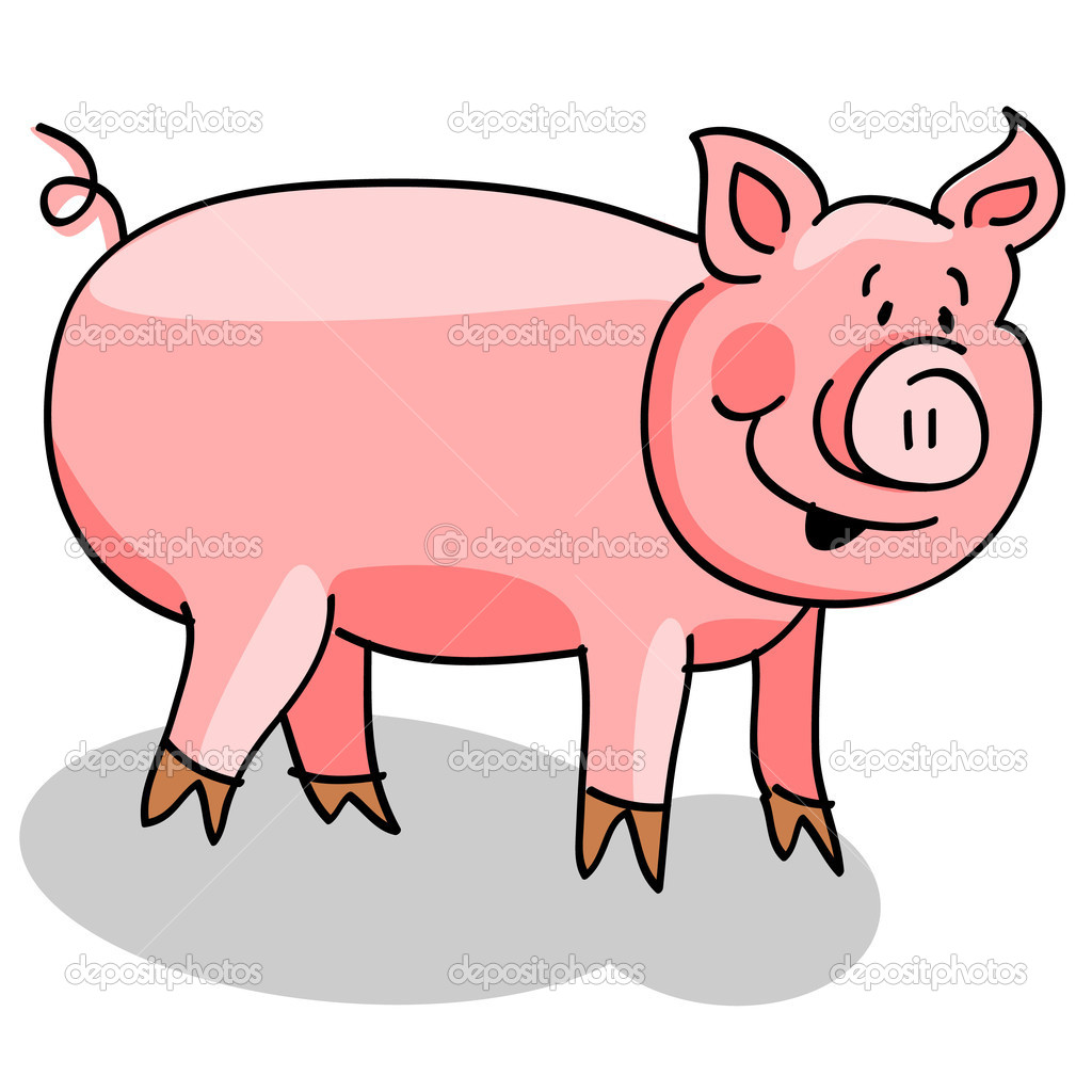 Cute fat pig cartoon