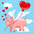 Flying pig in love — Stock Vector