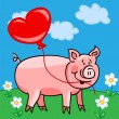 Stock Vector: Pig cartoon with heart balloon