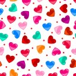 Seamless fun colorful heart shape pattern over black - Grafika wektorowa
