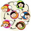 Stock Vector: Kids social network