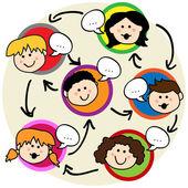 Red social de los niños — Vector de stock