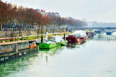 Barges on the Rhone river — Stock Photo