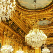 Gold ceiling and chandeliers - Stock Photo