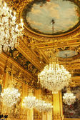 Gold ceiling and chandeliers — Stock Photo