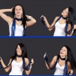 Sequence of pretty girl dancing — Stock Photo