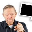 Old man pointing you with speech bubble — Stock Photo