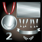 Silver elements for games and sports — Vector de stock