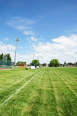 Soccer or football field in public park — Stock Photo