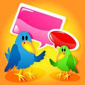 Birds with speech bubbles — Stock Vector