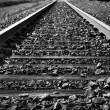 Black and white train tracks - Stock Photo