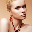 Beauty, fashion and personal accessories. Luxury sexy woman model with natural beige make-up, elegant hairstyle and chic jewelry — Stock Photo