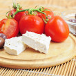 Fresh tomatoes, olives and white cheese — Stockfoto