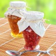 Two jars of fruit jam - Foto Stock