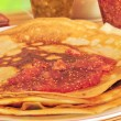 Pancakes and fruit jam - Foto Stock