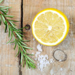 Mediterranean spices - rosemary, lemon, sea salt — Stock Photo