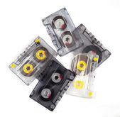 Pile of old tape cassettes — Stock Photo