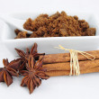 Brown sugar, cinnamon sticks and anise — Stock Photo #8801980