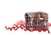 Chocolate cake with holiday decoration — Stock Photo