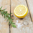 Mediterranean spices - rosemary, lemon and sea salt — Stock Photo