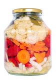Jar of pickled vegetables — Stock Photo