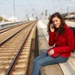 Waiting for a train — Stock Photo