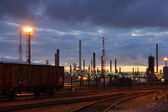 Oil refinery in twilight — Stock Photo