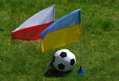 Two flag and football — Stock Photo