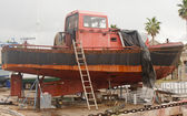 Old Rusty Boat in Dry Dock — Stock Photo