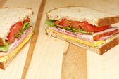 Ham and Cheese Sandwich with Lettuce and Tomato — Stock Photo