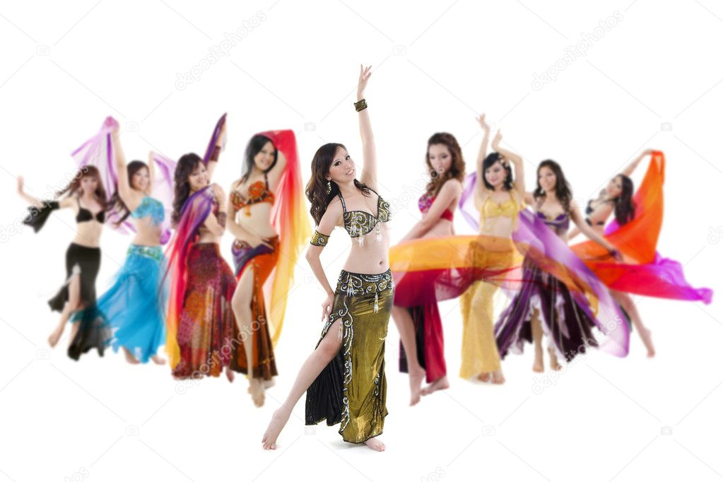 Belly dancer troupe posing on white background  Stock Photo #10297250